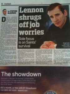 Graham's sport page headline