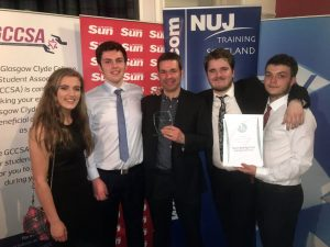 Best Broadcast winners, Kate Galbraith, Sean Hayman, Calum McIntosh, Jamie Sutherland & Head of Production, Dario Sinforiani